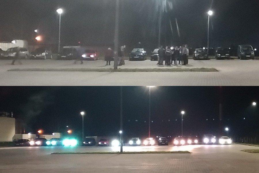 Fani driftu na parkingu przy Tesco