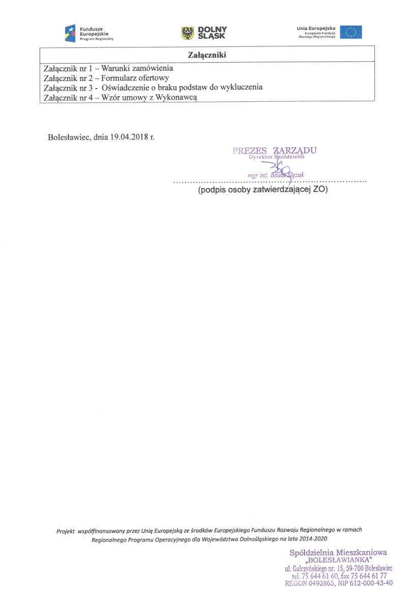 Zapytanie Ofertowe ZO/005/2018