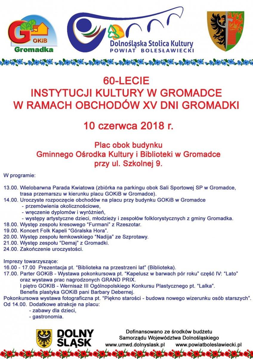 60-lecie Instytucji Kultury w Gromadce w ramach obchodów XV Dni Gromadki