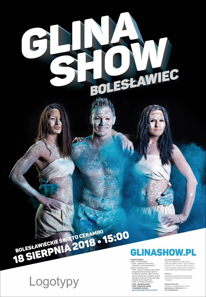 Niebieski plakat Glina Show 2018