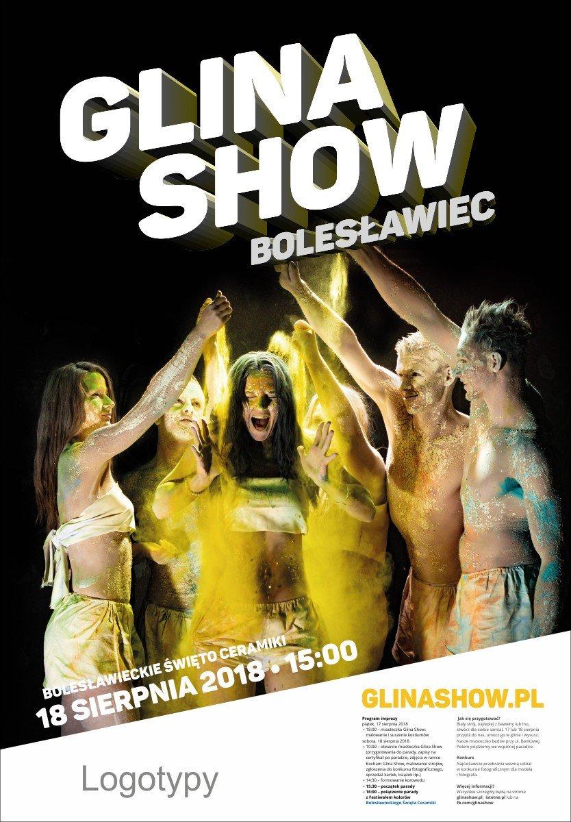 Żółty plakat Glina Show 2018