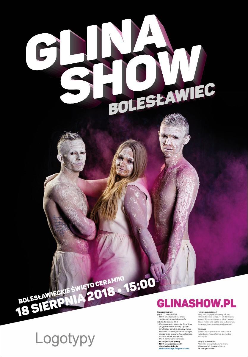 Różowy plakat Glina Show 2018