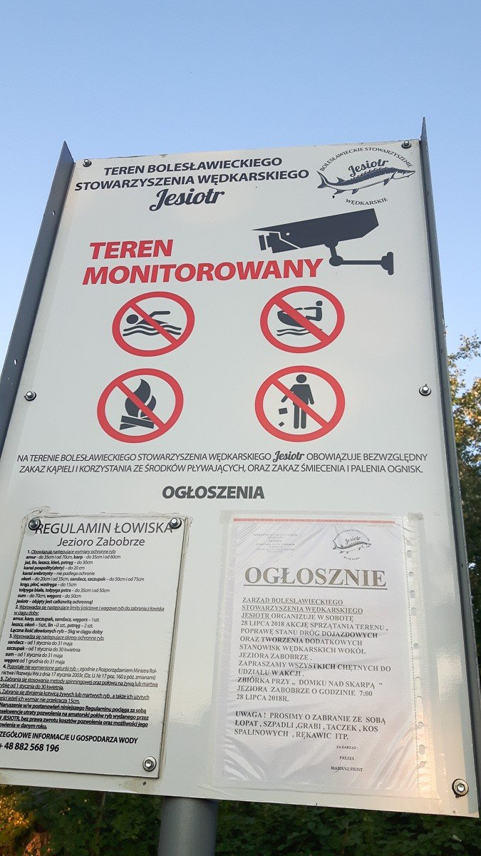 Jezioro Zabobrze tylko dla wędkarzy!