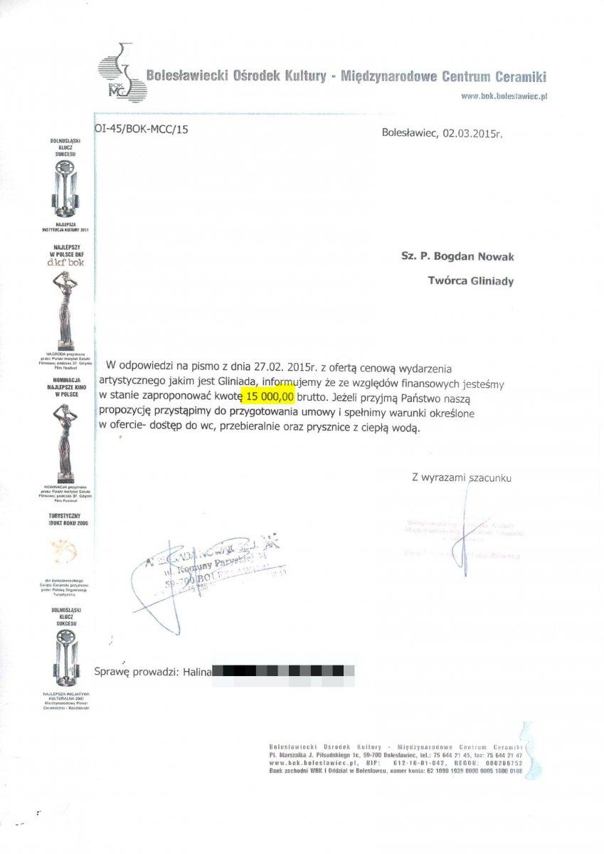 2015 rok: miasto proponuje Nowakowi 15 000 zł z-index: 0