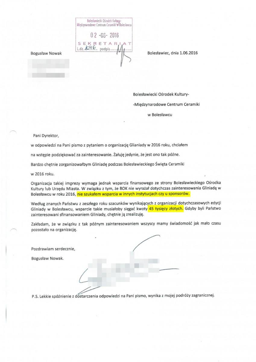 2016 rok: Nowak pisze, że nigdzie poza miastem nie szukał wsparcia i żąda 45 000 zł