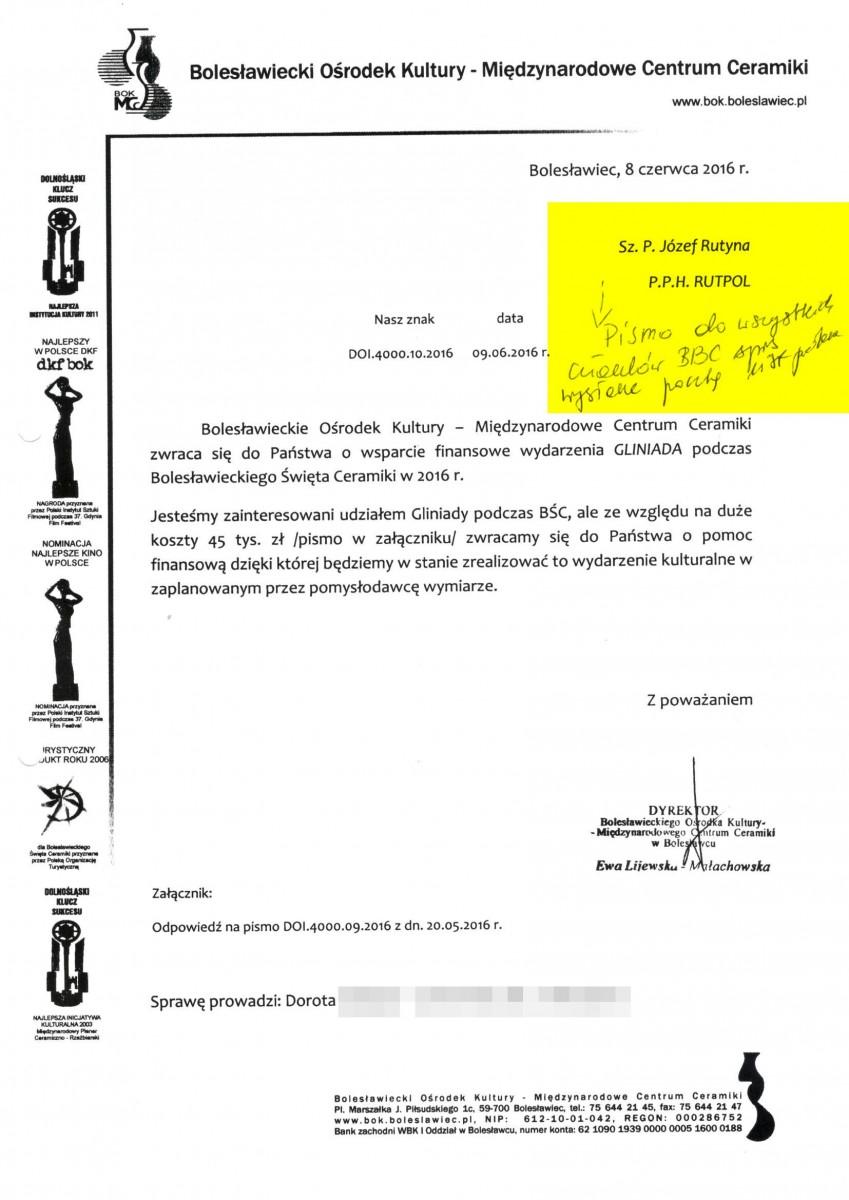 2016 rok: miasto wysyła pismo do wszystkich członków Bractwa Ceramicznego (firm produkujących ceramikę) z prośbą o wspólne wsparcie Gliniady Nowaka