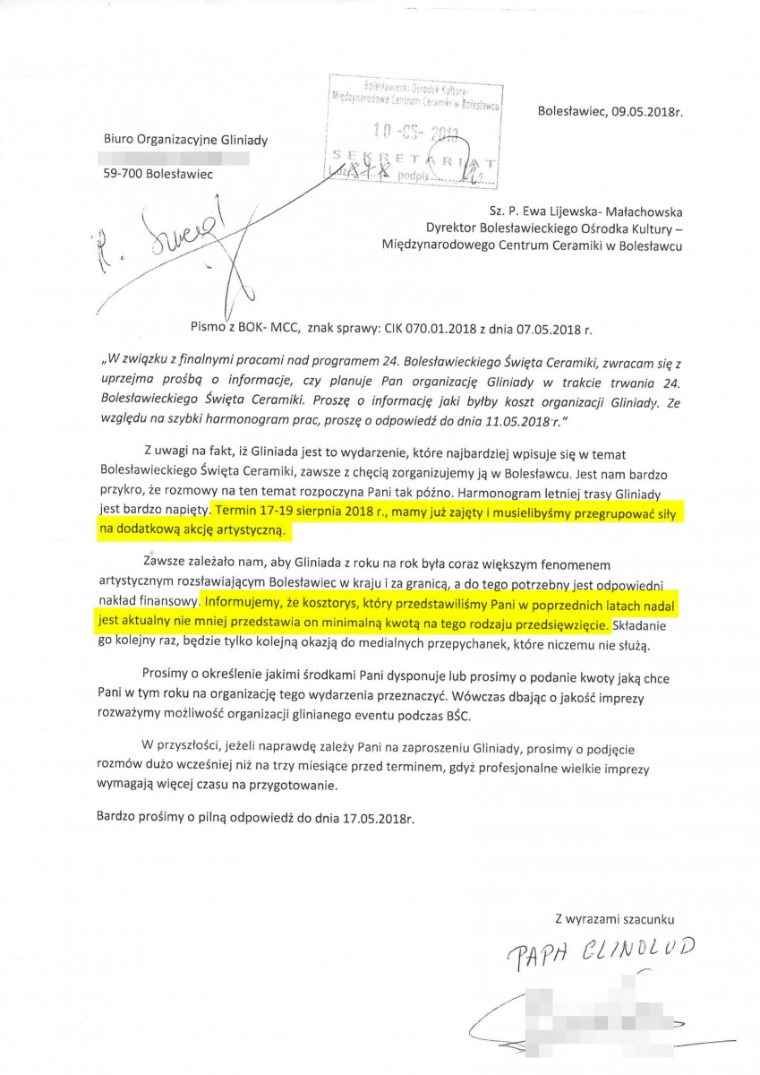 9 maja 2018: Nowak pisze, że termin na Dni Ceramiki ma już zajęty (sic!) oraz powtarza żądanie 45 tys. i informuje, że to minimum jakie miasto musi wydać