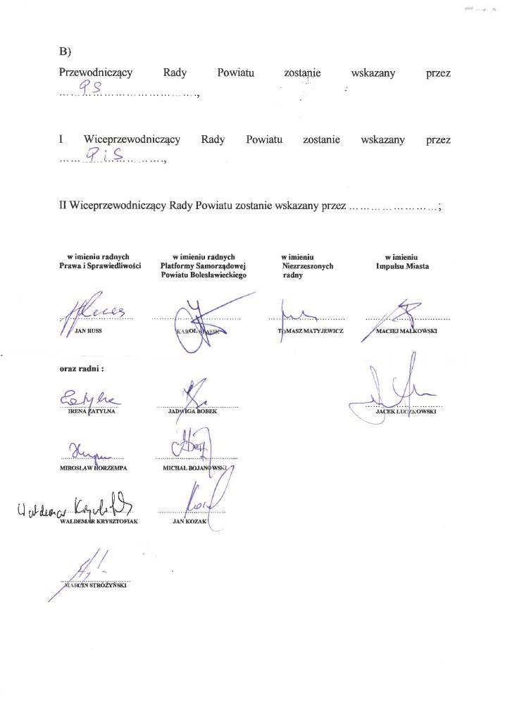 Porozumienie koalicyjne PiS, Platformy Samorządowej, Impulsu Miasta i radnego niezrzeszonego