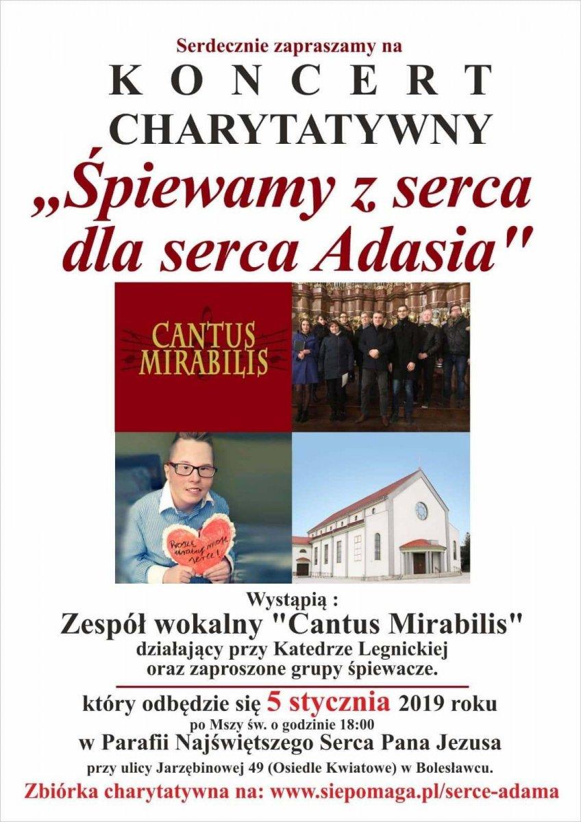 Plakat koncertu charytatywnego dla Adama Pietraszki