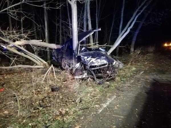 Samochód zmasakrowany po uderzeniu w drzewo. Wichura nad powiatem z-index: 0