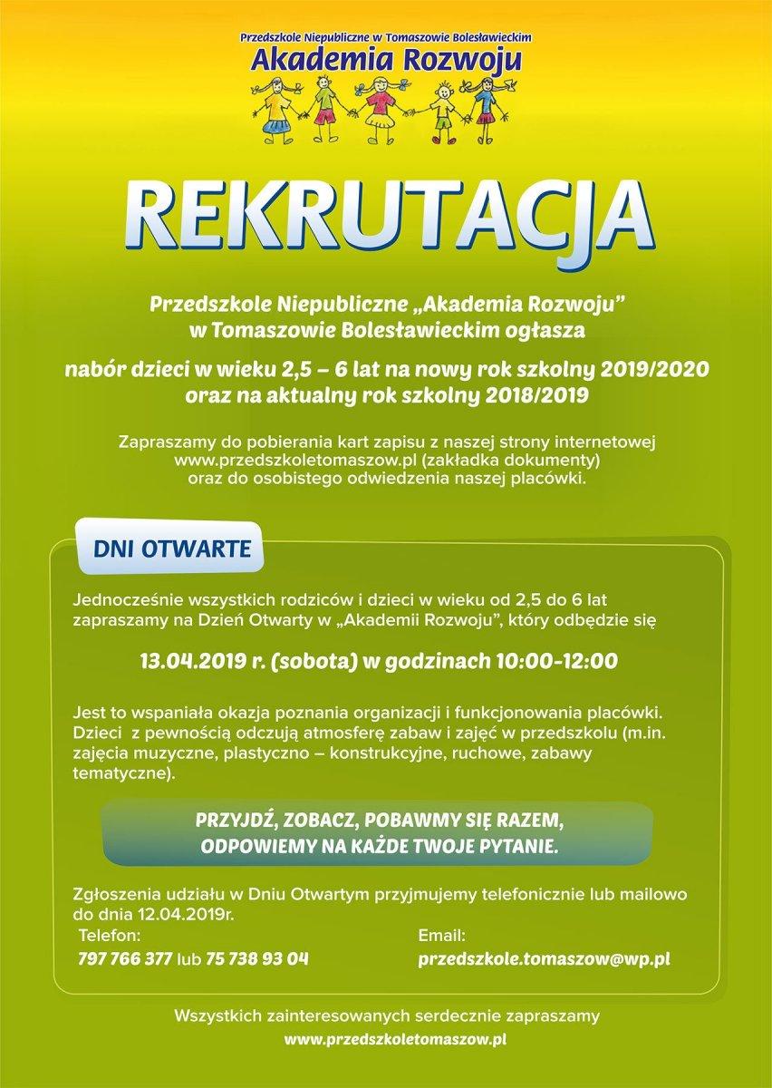 Rekrutacja i dzień otwarty w Akademii Rozwoju w Tomaszowie Bolesławieckim