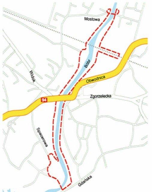 Mapka biegu między mostami