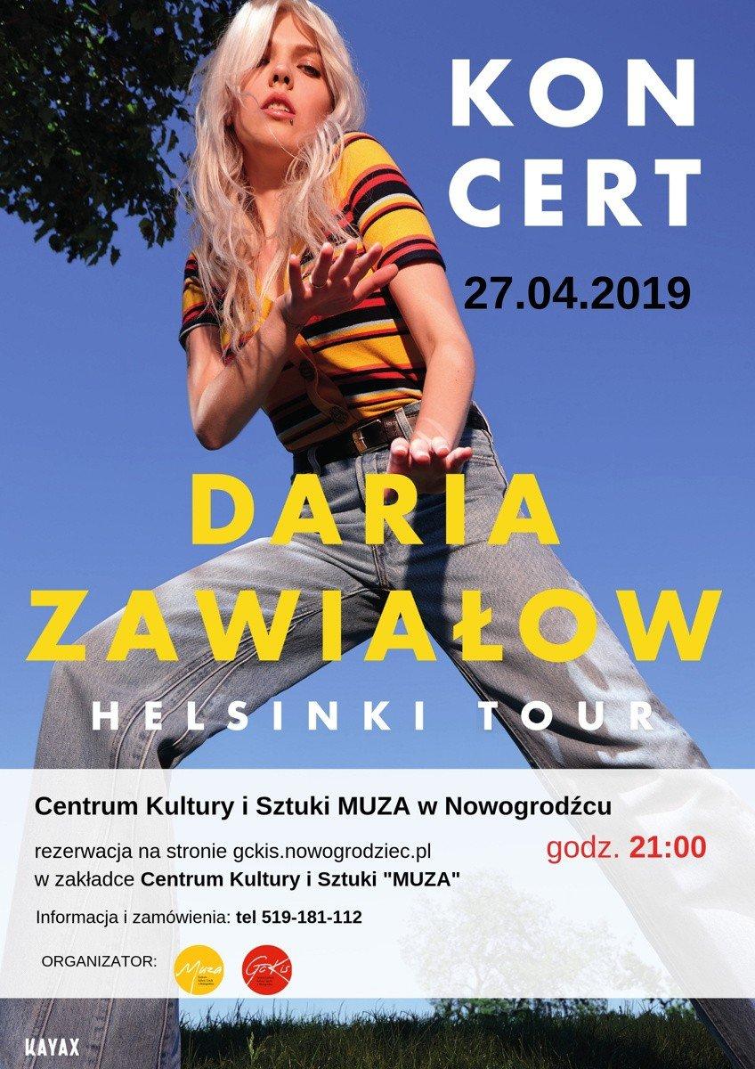 Plakat koncertu Darii Zawiałow w Nowogrodźcu