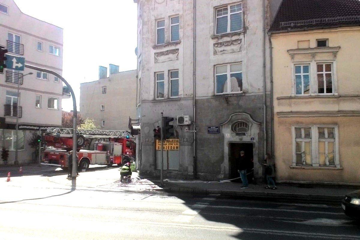 Pożar w budynku na Łokietka