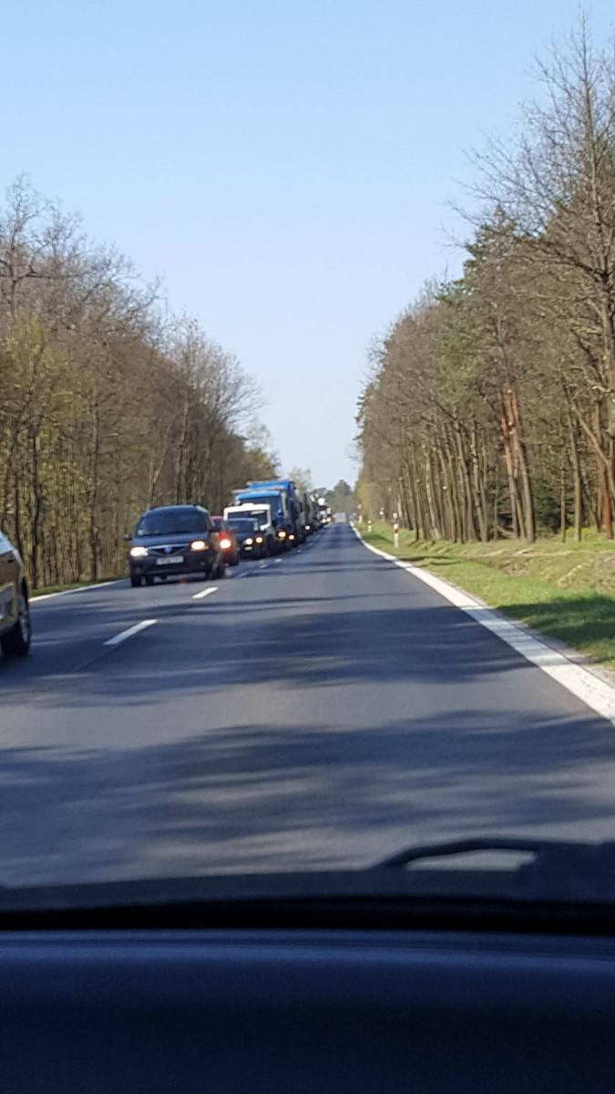 Korki na wjeździe do Bolesławca