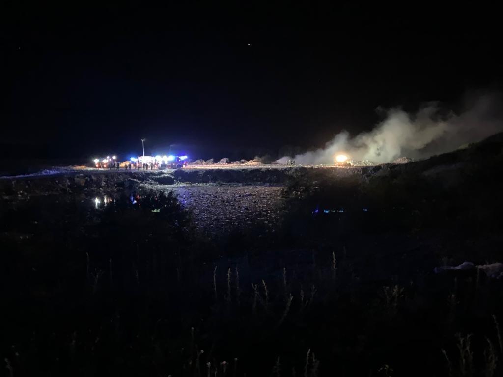 Pożar wysypiska śmieci w Trzebieniu