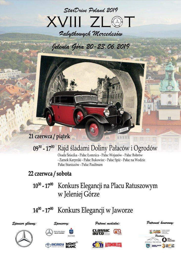 Plakat Zlotu Zabytkowych Mercedesów StarDrive Poland 2019