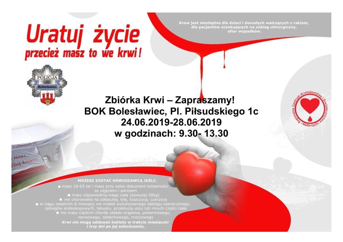 Plakat. Akcja Krwiodawstwa w Bolesławcu