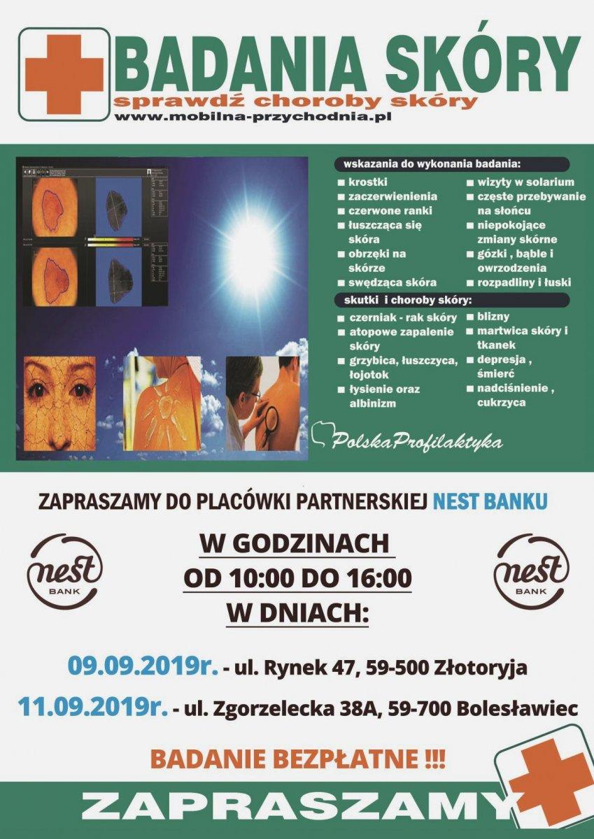 Plakat Bezpłatne Badania Skóry w placówce Nest Banku