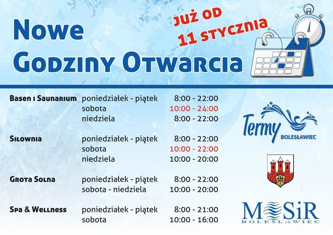 Termy Bolesławiec - nowe godziny otwarcia