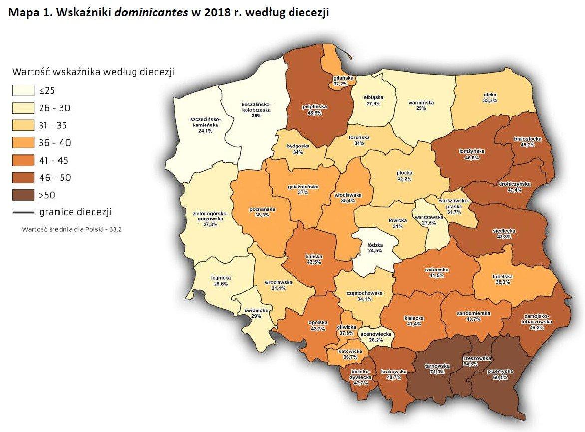 Wskaźnik dominicantes w 2018 roku według diecezji