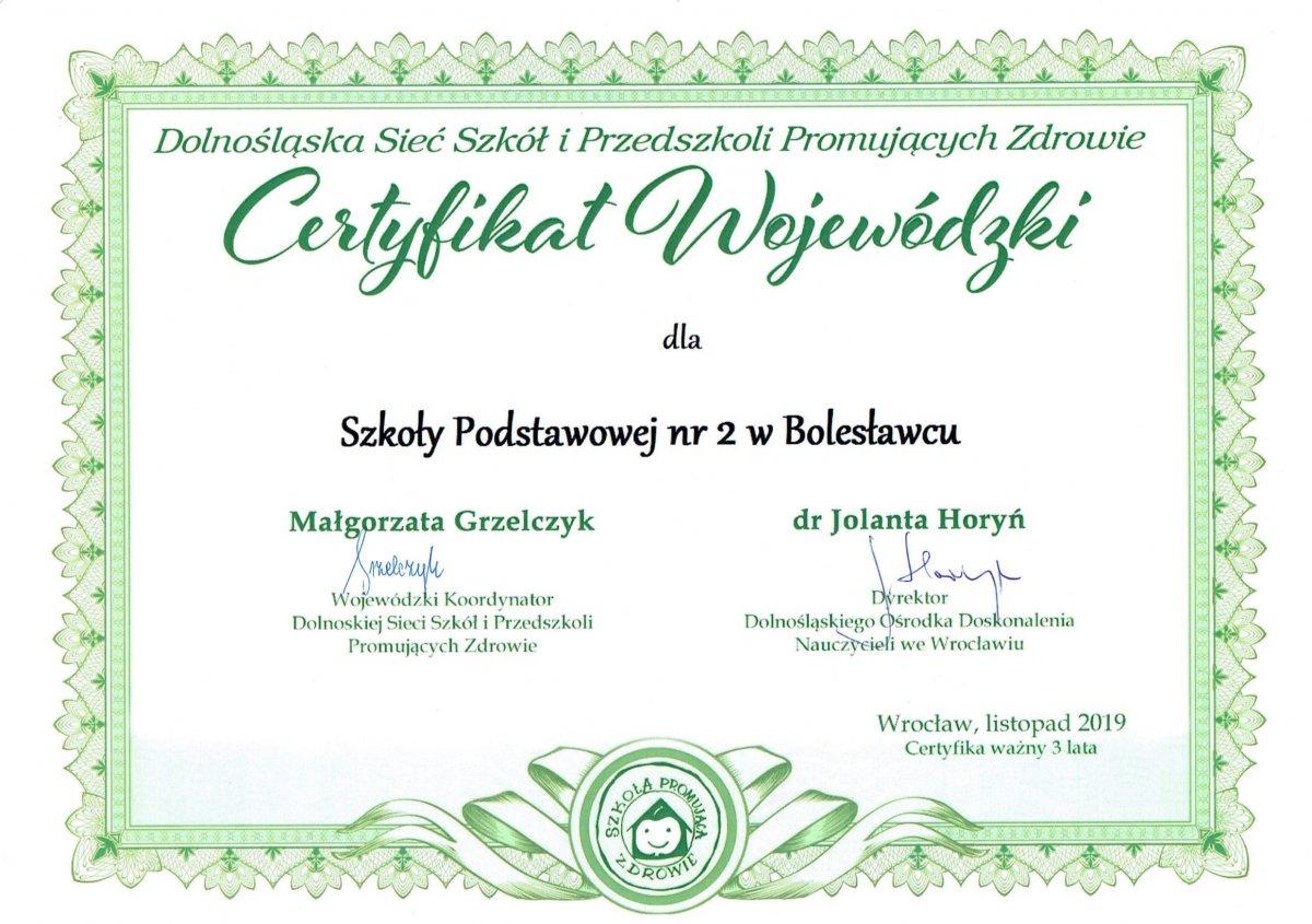 Certyfikaty dla Szkoły Podstawowej nr 2 w Bolesławcu