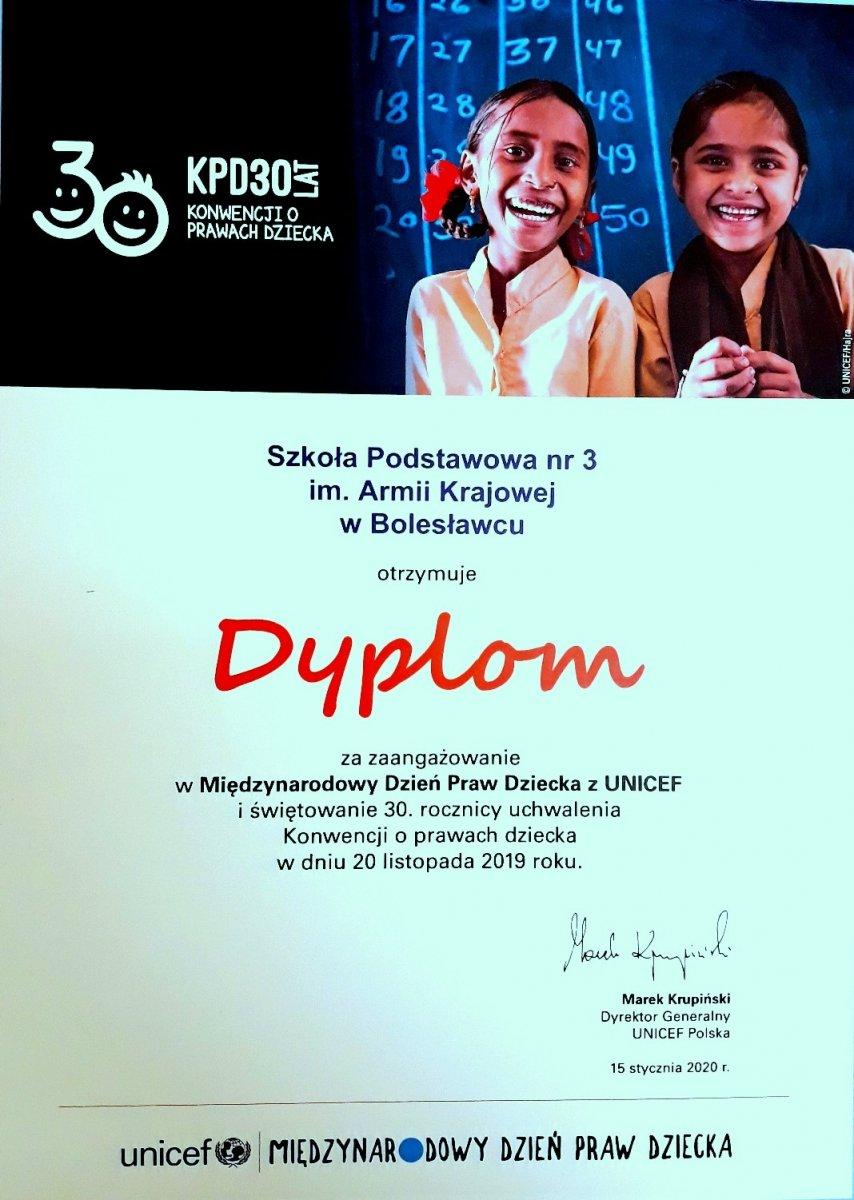 Dyplom UNICEF dla Szkoły Podstawowej nr 3