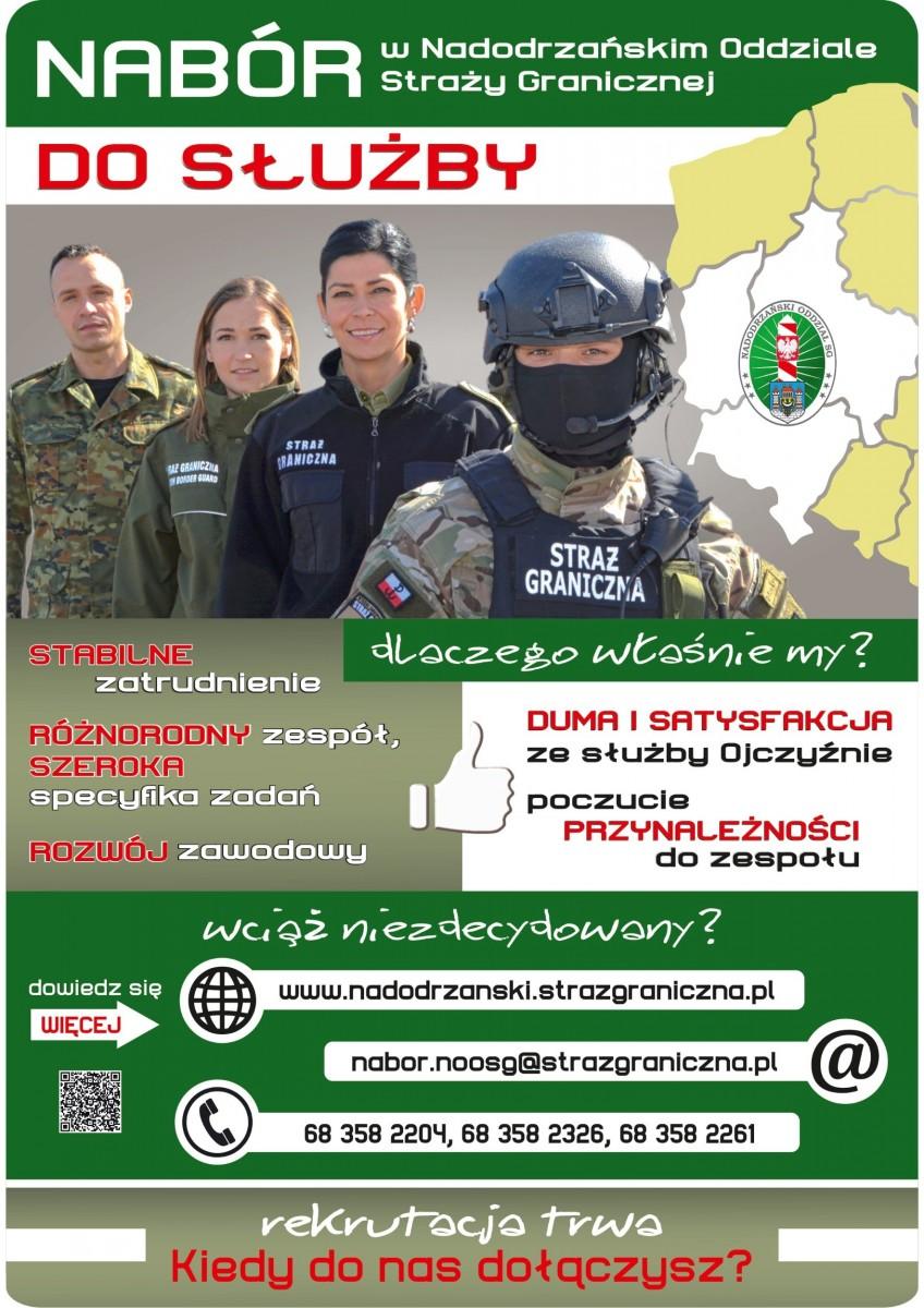 Plakaty informujące o naborze do Nadodrzańskiego Oddziału Straży Granicznej