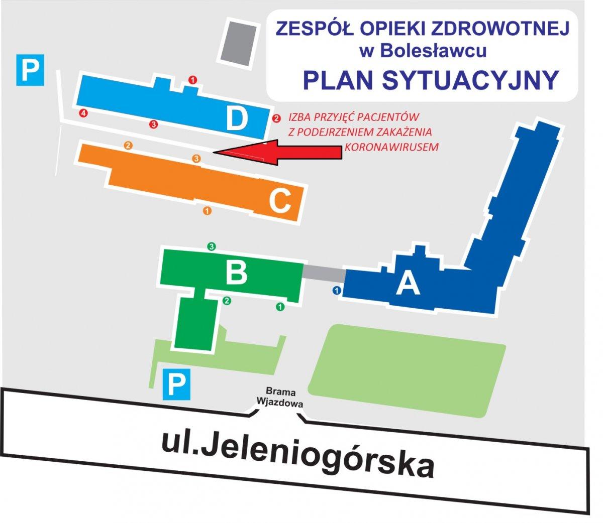 Plan sytuacyjny ZOZ-u w Bolesławcu