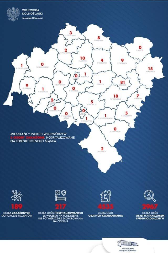 Koronawirus - zachorowalność, podział wg miast i powiatów