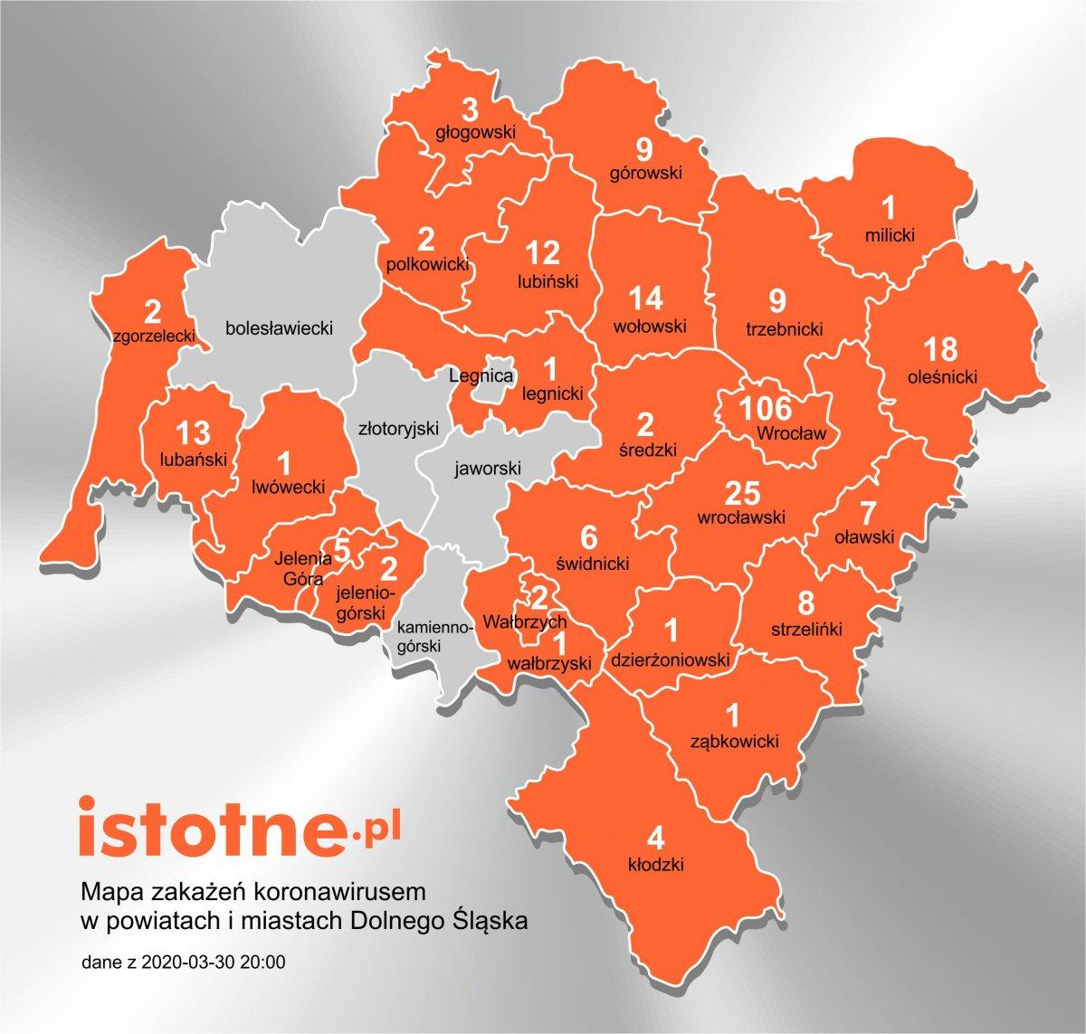 Mapa zakażeń koronowirusem w powiatach i miastach Dolnego Śląska