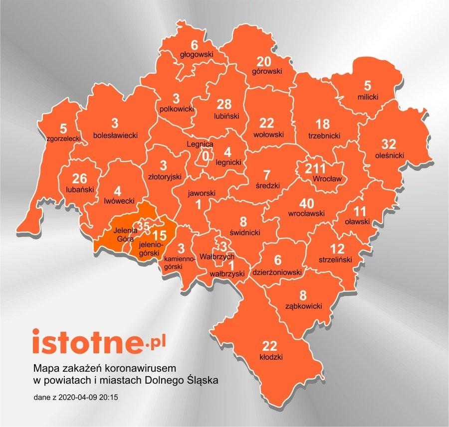 Mapa zakażeń koronawirusem na Dolnym Śląsku, 9 kwietnia 2020 r.
