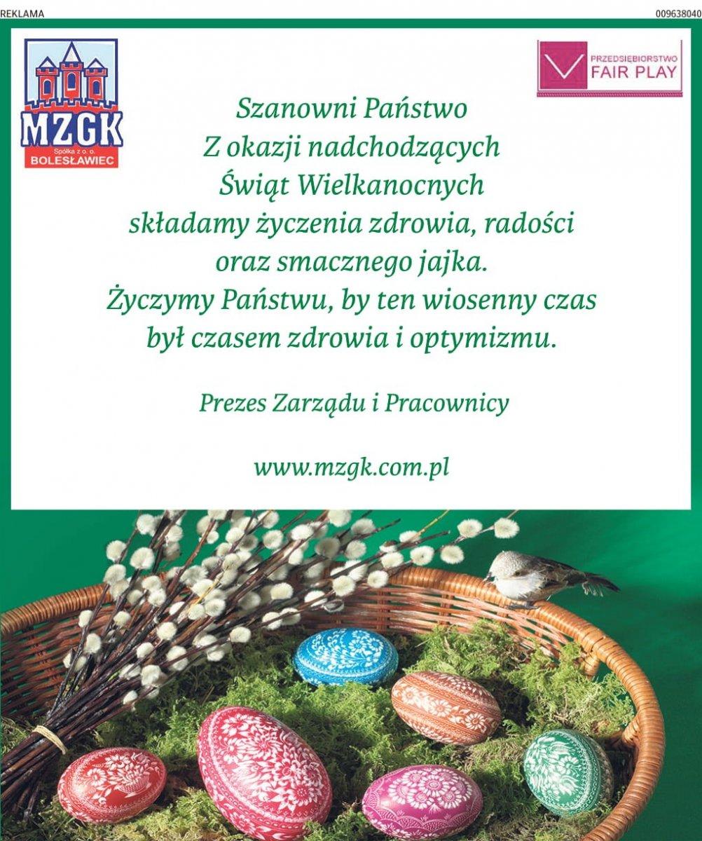 Życzenia wielkanocne od MZGK w Bolesławcu