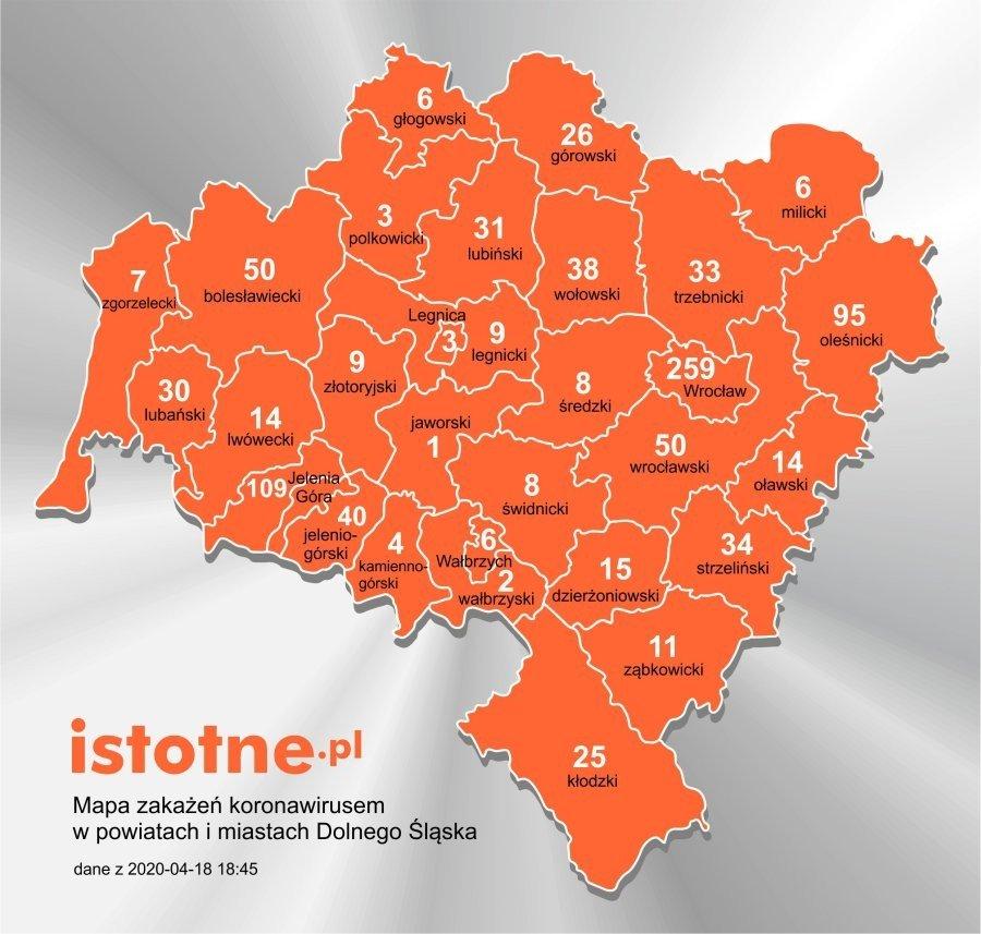 Mapa zakażeń koronawirusem na Dolnym Śląsku, 18 kwietnia 2020 r.