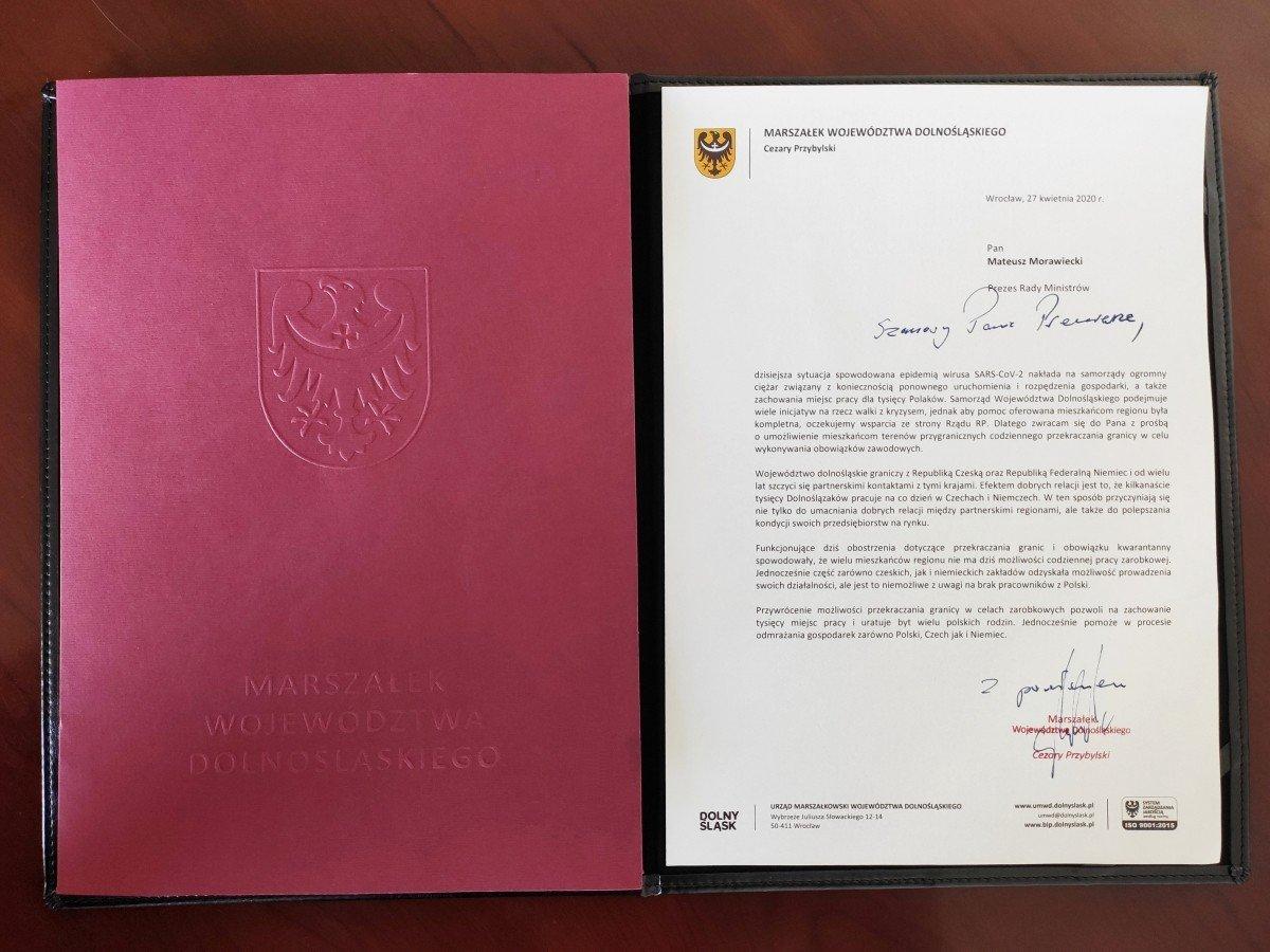 Apel Marszałka Cezarego Przybylskiego do Premiera RP Mateusza Morawieckiego