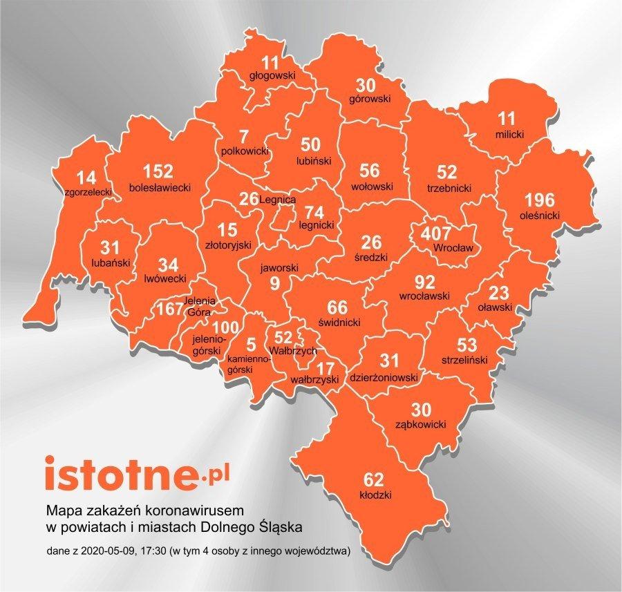 Mapa zakażeń koronawirusem na Dolnym Śląsku, 9 maja 2020 r.