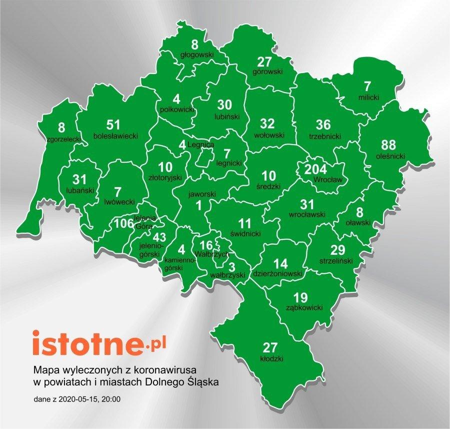 Mapa wyleczonych z koronawirusa na Dolnym Śląsku, 15 maja 2020 r.