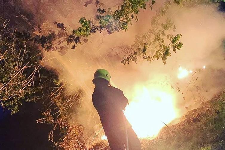 Akcja straży pożarnej w pobliżu drogi Nowogrodziec–Gierałtów (powiat bolesławiecki)