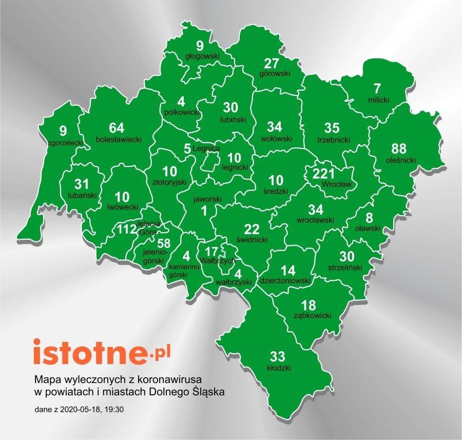 Mapa wyleczonych z koronawirusa na Dolnym Śląsku, 18 maja 2020 r.