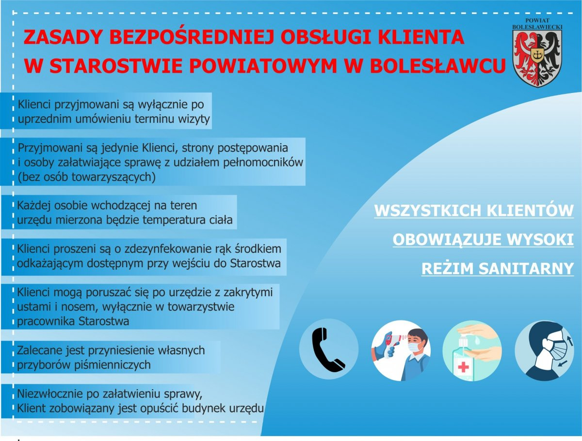 Zasady bezpośredniej obsługi klienta w Starostwie Powiatowym w Bolesławcu