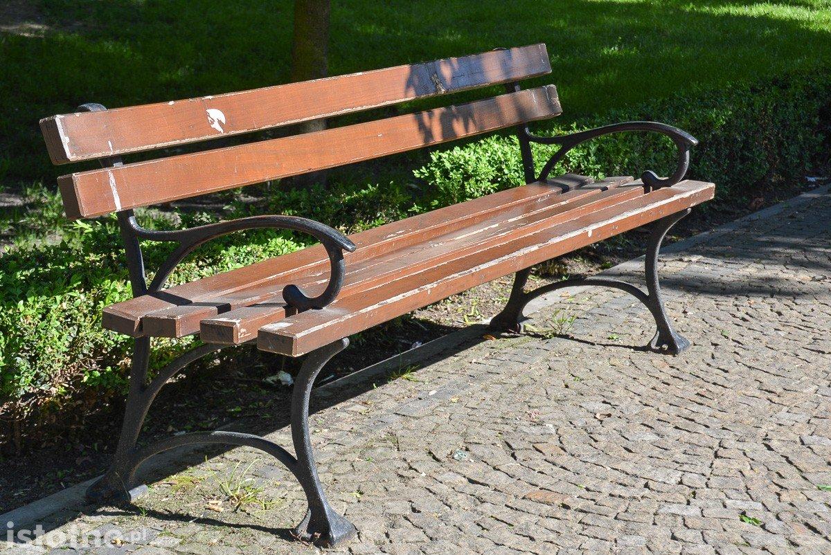 Zaniedbane ławki przy pl. Zamkowym w Bolesławcu (zdjęcia z 27 maja)