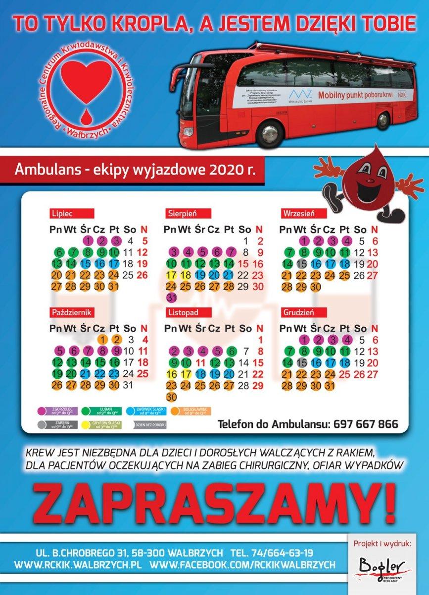 Harmonogram Regionalnego Centrum Krwiodawstwa i Krwiolecznictwa w Wałbrzychu