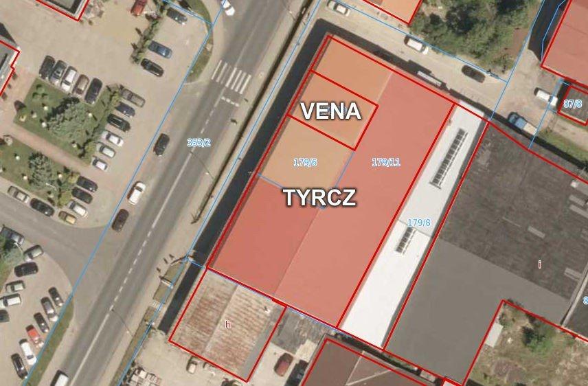 Mapa prezentująca budynki firmy Tyrcz i Vena