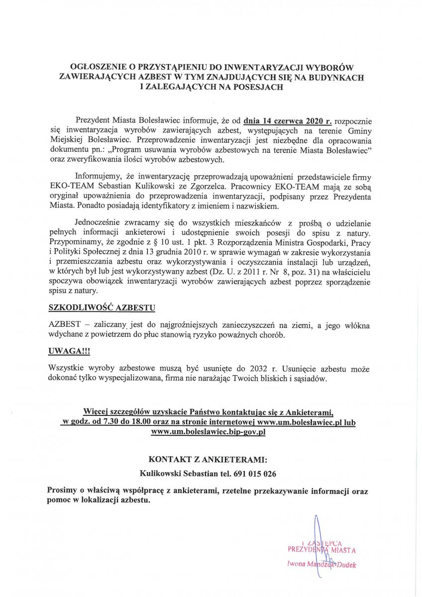 Pismo wiceprezydent Bolesławca Iwony Mandżuk-Dudek