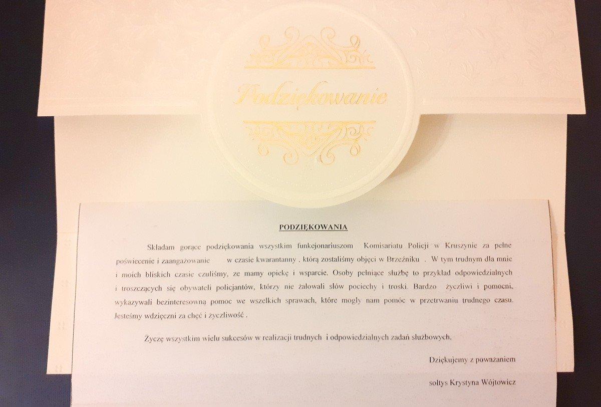 Pismo od sołtyski Brzeźnika do policjantów z Kruszyna (gmina Bolesławiec, powiat bolesławiecki)