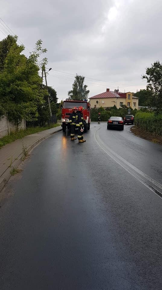 Akcja straży pożarnej między Krzyżową a Gromadką (gmina Gromadka, powiat bolesławiecki)