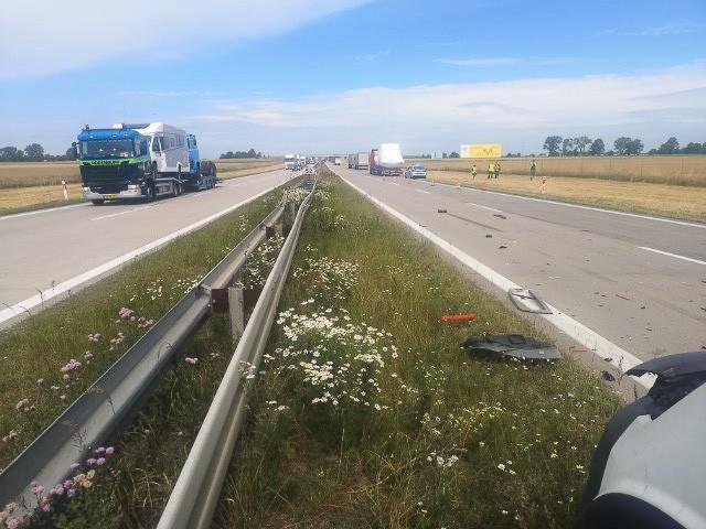 Akcja służb na A4 (na wysokości Krzyżowej, gmina Gromadka, powiat bolesławiecki)