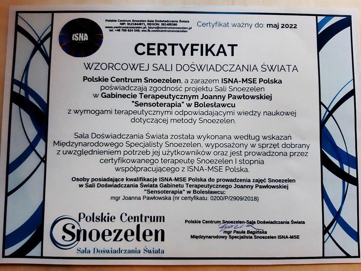 Certyfikat Wzorcowej Sali Doświadczania Świata