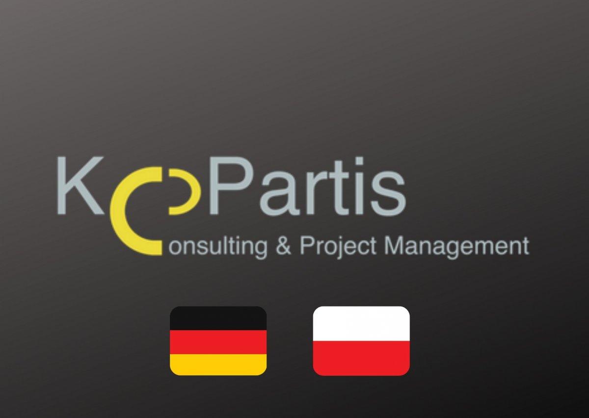 Logotyp KoPartis i flagi Polski i Niemiec