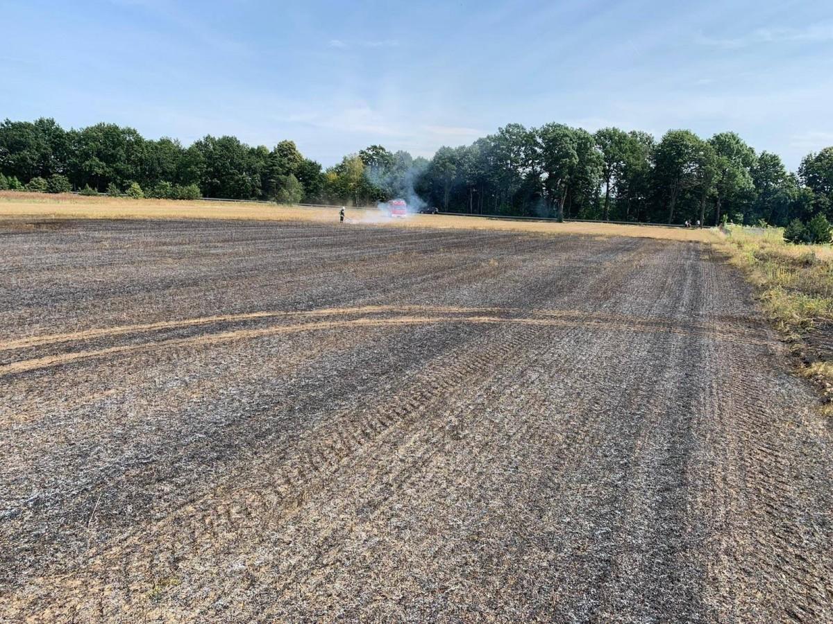 Pożar pola w Zebrzydowej